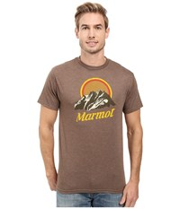 Marmot Pikes Peak Short Sleeve Tee Brown Heather Men's Clothing