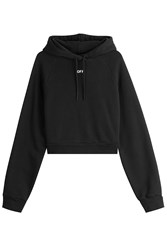 Off White Cropped Cotton Hoody Black