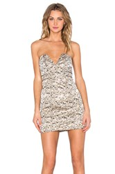 Lovers Friends Wild And Free Bodycon Dress Metallic Gold