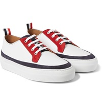 Thom Browne Grained Leather And Suede Sneakers