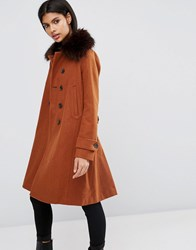 Asos Wool Blend Coat With Military Details And Contrast Button Holes Ginger Orange