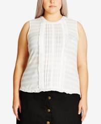 City Chic Trendy Plus Size Lace Ruffle Top Ivory