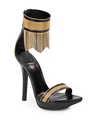 Versace Chain Fringe Leather Sandas Black