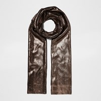 River Island Womens Black And Gold Metallic Knit Scarf