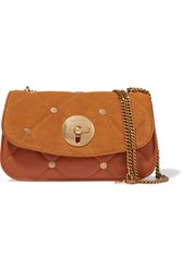 See By Chloe Lois Quilted Suede And Leather Shoulder Bag Tan