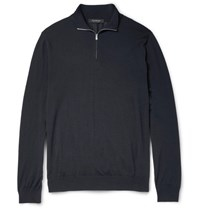 Ermenegildo Zegna Wool Half Zip Sweater Navy