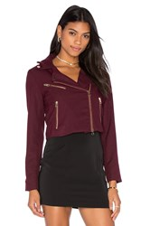 Bishop Young Cropped Moto Blazer Burgundy
