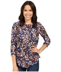 Nydj 3 4 Sleeve Pleat Back Floral Memoirs Chocolate Women's Blouse Multi