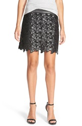 Sam Edelman 'Emma' Faux Leather Floral Skirt Black