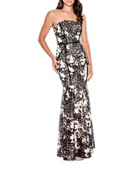 Decode 1.8 Strapless Floral Gown Black Nude