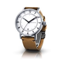 Bravur Watches Steel Case White Face And Tan Strap