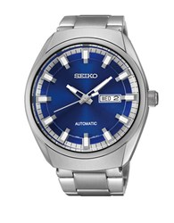 Seiko Mens Recraft Stainless Steel Automatic Bracelet Watch Silver