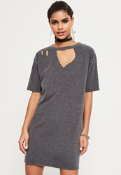 Missguided Grey Ripped Oversized T Shirt Dress