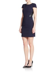 4 Collective Faux Leather Inset A Line Dress Navy Blue