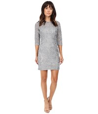 Aidan Mattox Long Sleeve Soutache Cocktail Dress Silver Women's Dress