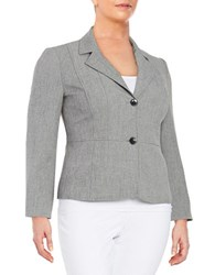 Nipon Boutique Plus Textured Two Button Blazer Grey Black