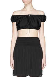 Azzedine Alaia Cotton Poplin Cropped Bardot Top Black