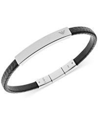Emporio Armani Men's Stainless Steel And Black Leather Logo Bracelet Egs2063