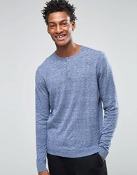 Asos Grandad Neck Jumper In Blue Twist Cotton Denim Twist Nep