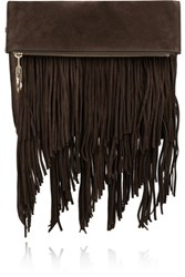 Elizabeth And James Andrew Fringed Suede Clutch Chocolate