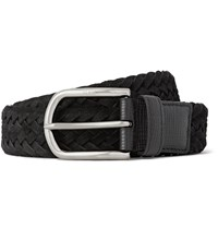 Tod's 3.5Cm Black Cross Grain Leather Trimmed Woven Suede Belt