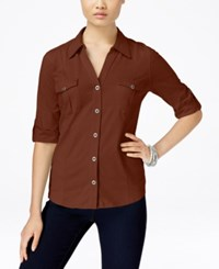 Styleandco. Style Co. Petite Jersey Utility Shirt Only At Macy's Rich Auburn