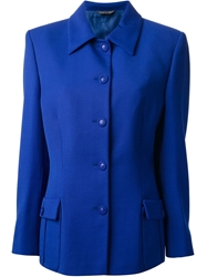 Gianni Versace Vintage Buttoned Jacket Blue