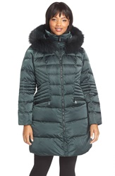 1 Madison Down And Feather Fill Coat With Genuine Fox Fur Trim Plus Size Dark Jade