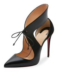 Christian Louboutin Ferme Rouge Self Tie Red Sole Pump Black