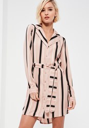Missguided Pink Belted Stripe Shirt Dress Multi