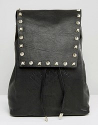 Asos Leather Embossed And Studded Backpack Black