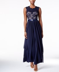R And M Richards Sequined Lace Chiffon Gown Navy