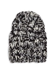 Missoni Chunky Knit Wool Beanie Black White
