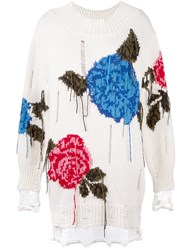 Msgm Floral Frayed Sweater White