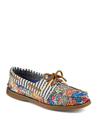 Sperry Liberty Floral Canvas Boat Shoes Blue