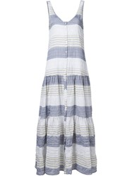 Lisa Marie Fernandez Button Stripe Dress Blue