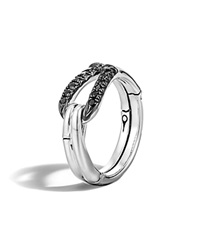 John Hardy Bamboo Silver Lava Hook Ring With Black Sapphire