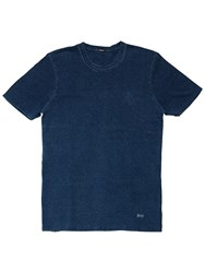 Denham Jeans Signature Crew Neck Bubble 1 Year Wash T Shirt Blue