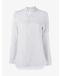Marie Marot Diana Stripe Ruffle Cotton Shirt Black White Grey