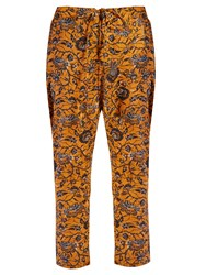 Etoile Isabel Marant Alka Floral Print Cropped Trousers Yellow