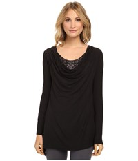 Lysse Sequin Cowl Top Black Women's Long Sleeve Pullover