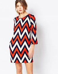 Traffic People Shift Dress In Chevron Print Navy