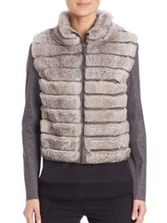 Elie Tahari Lori Knit And Fur Panel Jacket Grey