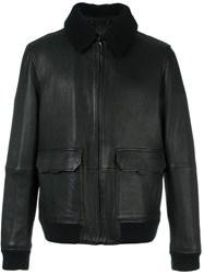 Michael Kors Faux Fur Collar Leather Jacket Black