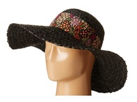 Betsey Johnson Sequin Floppy Hat With Floral Band Black Caps