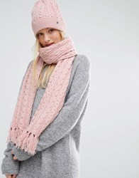Tommy Hilfiger Pink Knitted Scarf And Beanie Gift Set Coral Blush