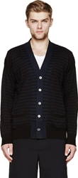 Sacai Black And Blue Striped Cardigan