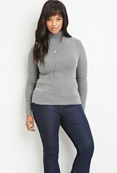 Forever 21 Plus Size Ribbed Turtleneck Sweater Heather Grey