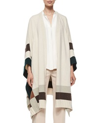 Derek Lam Colorblock Cape Poncho Ivy Dark Brown Gray