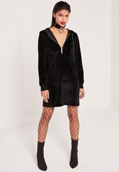 Missguided Faux Pony Hair Zip Hooded Sweater Dress Black